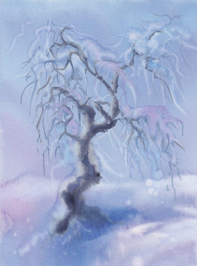 Paesaggio di inverno con e la neve di melo congelate Illustrazione dell'acquerello royalty illustrazione gratis
