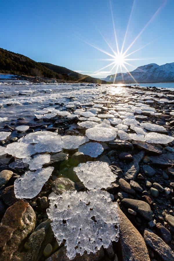 Paesaggio di inverno con con ghiaccio sulla costa fotografie stock libere da diritti