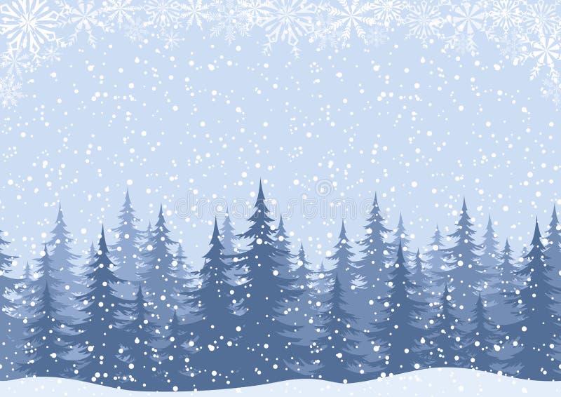 Paesaggio di inverno con gli abeti e la neve illustrazione vettoriale