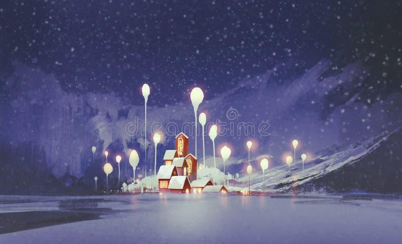Paesaggio di inverno con gli alberi di fantasia e del villaggio alla notte royalty illustrazione gratis