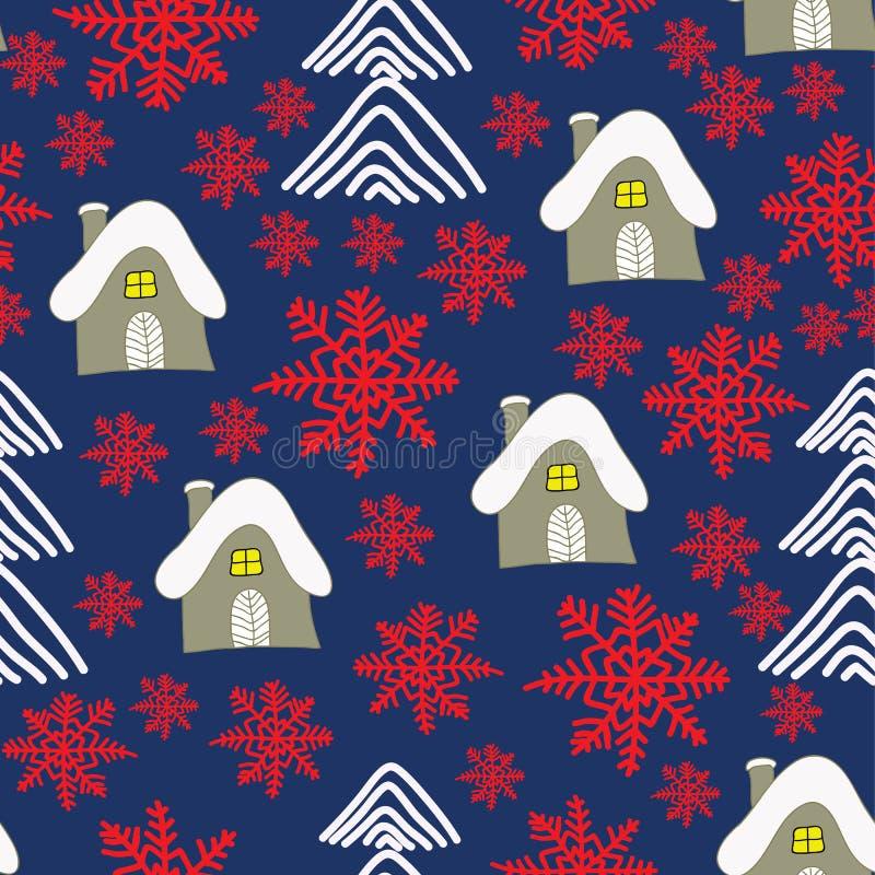 Paesaggio di inverno con il cottage, i sowflakes rossi e gli alberi di Natale Priorità bassa di natale illustrazione vettoriale