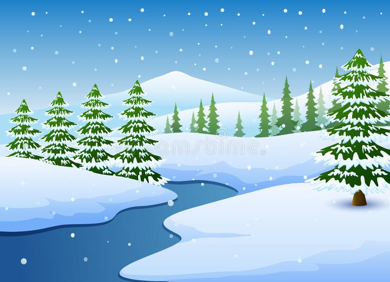 Paesaggio di inverno con il lago e gli abeti congelati royalty illustrazione gratis
