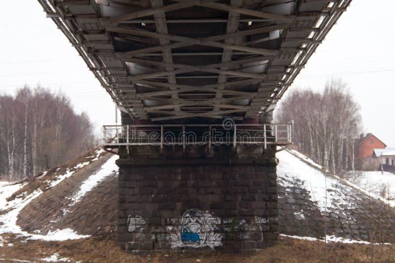 Paesaggio di inverno con il ponte della ferrovia sopra il fiume congelato, alberi innevati, brina fotografia stock