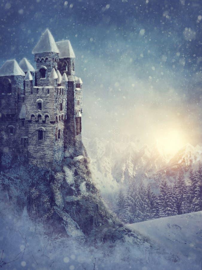 Paesaggio di inverno con il vecchio castello illustrazione di stock