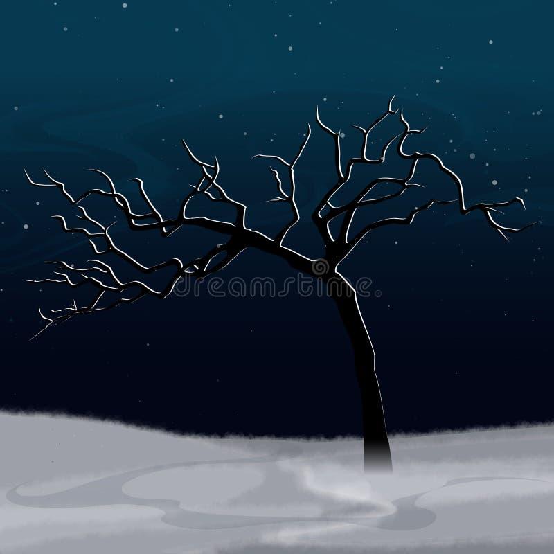 Paesaggio di inverno con l'albero innevato astratto bianco illustrazione di stock