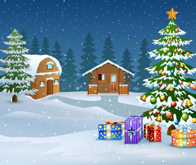 Paesaggio di inverno con la casa della neve e l'albero di Natale di legno illustrazione vettoriale