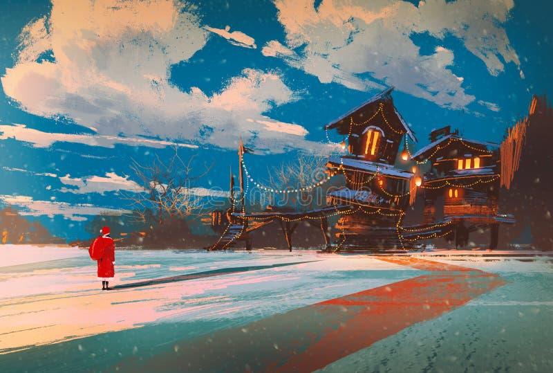 Paesaggio di inverno con la casa di legno alla notte di Natale illustrazione vettoriale