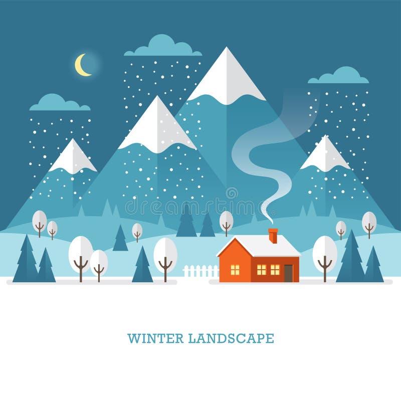 Paesaggio di inverno con la casa e montagne alla notte illustrazione vettoriale
