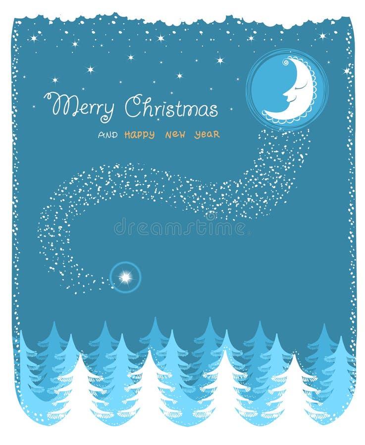 Paesaggio di inverno con la luna e la foresta piacevoli royalty illustrazione gratis