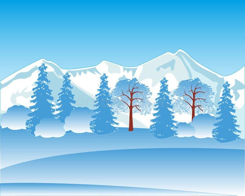 Paesaggio di inverno con la montagna ed il legno royalty illustrazione gratis