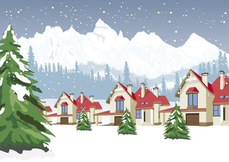 Paesaggio di inverno con la stazione sciistica della montagna illustrazione vettoriale