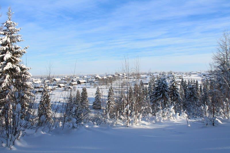 Paesaggio di inverno con la vista del villaggio immagini stock libere da diritti