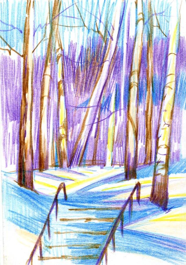Paesaggio di inverno con le betulle e le scale Pancil di colore, disegnato a mano illustrazione di stock