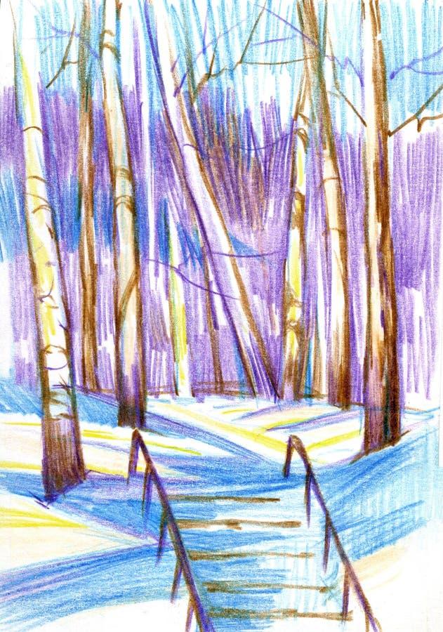 Paesaggio di inverno con le betulle e le scale Pancil di colore, disegnato a mano illustrazione vettoriale