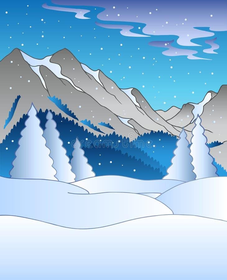 Paesaggio di inverno con le montagne illustrazione vettoriale