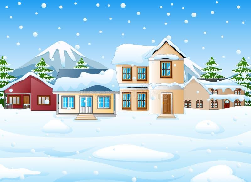 Paesaggio di inverno con le montagne e la casa nevosa illustrazione di stock