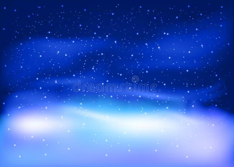 Paesaggio di inverno con neve di caduta Fondo del nuovo anno e di Natale Illustrazione di vettore illustrazione vettoriale