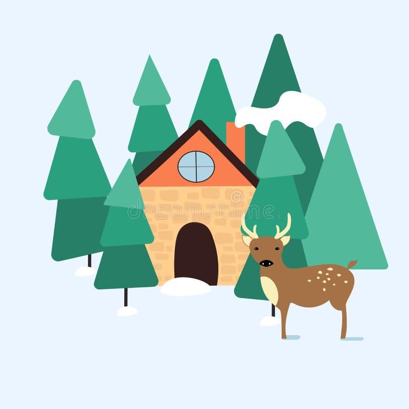 Paesaggio di inverno con una casa e un caro nella progettazione piana di Moder della foresta royalty illustrazione gratis