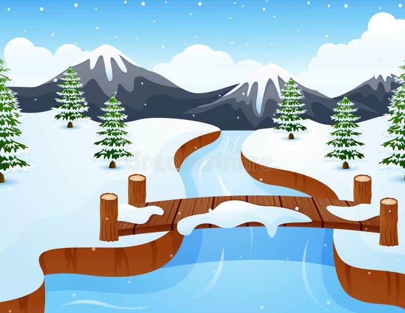Paesaggio di inverno del fumetto con le montagne ed il piccolo ponte di legno sopra il fiume illustrazione di stock