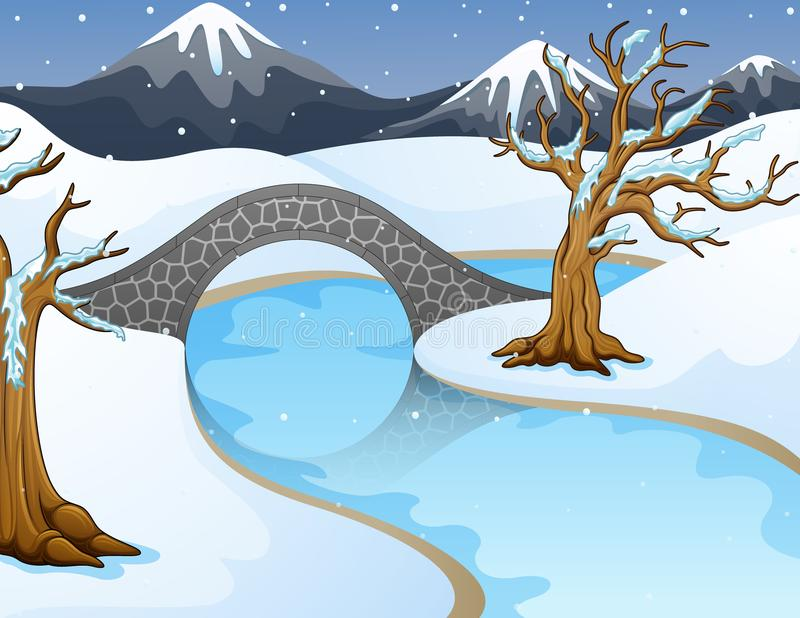 Paesaggio di inverno del fumetto con le montagne ed il piccolo ponte di pietra sopra il fiume illustrazione di stock