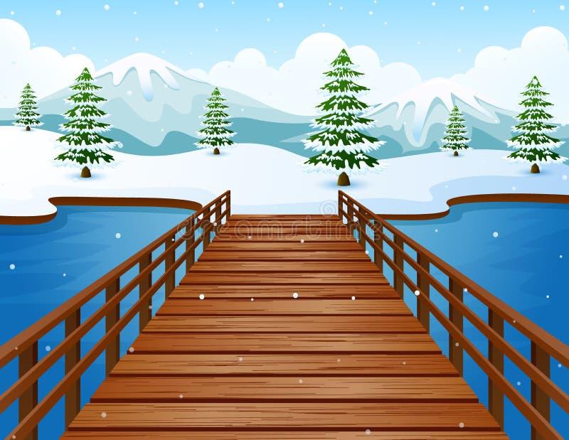 Paesaggio di inverno del fumetto con le montagne ed il ponte di legno sopra il fiume illustrazione di stock