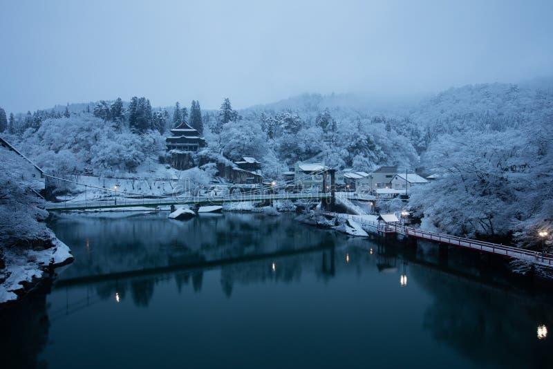 Paesaggio di inverno del Giappone alla città di Mishima fotografie stock
