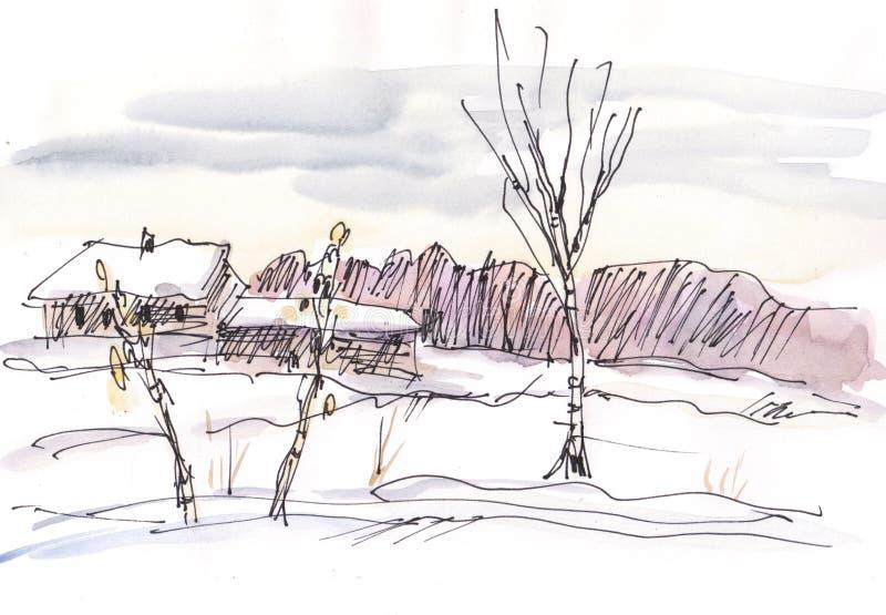 Paesaggio di inverno dell'acquerello illustrazione vettoriale