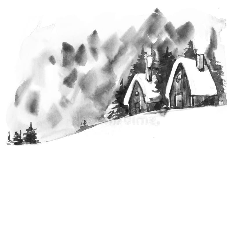 Paesaggio di inverno dell'acquerello Cartolina d'auguri d'annata dell'acquerello di Natale con il paesaggio accogliente di invern illustrazione di stock