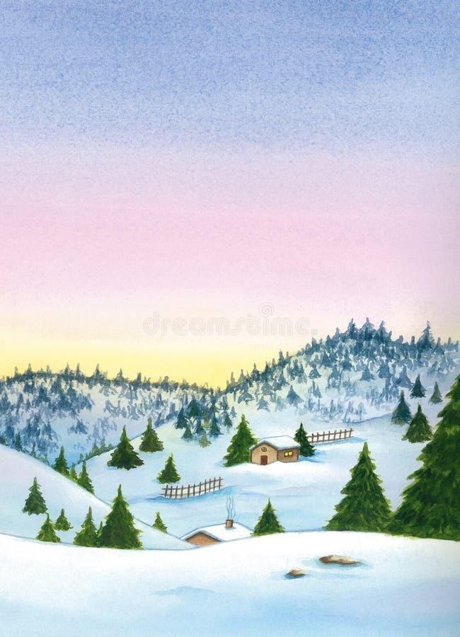 Paesaggio di inverno di Snowy con le montagne e le case fotografie stock