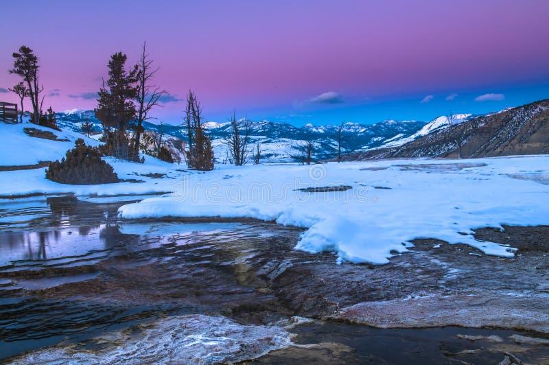 Paesaggio di inverno di Yellowstone al tramonto fotografia stock