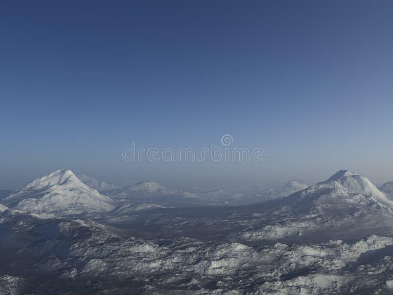 paesaggio di inverno generato 3d: Montagne nebbiose illustrazione vettoriale