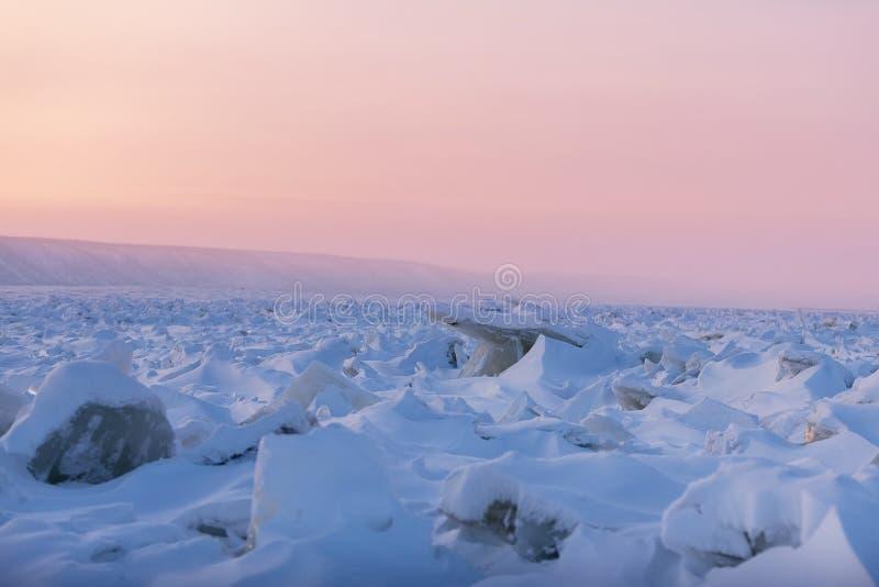 Paesaggio di inverno nei toni rosa con ghiaccio increspato sul fiume congelato al tramonto immagine stock