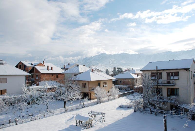 Paesaggio di inverno nella città fotografia stock libera da diritti