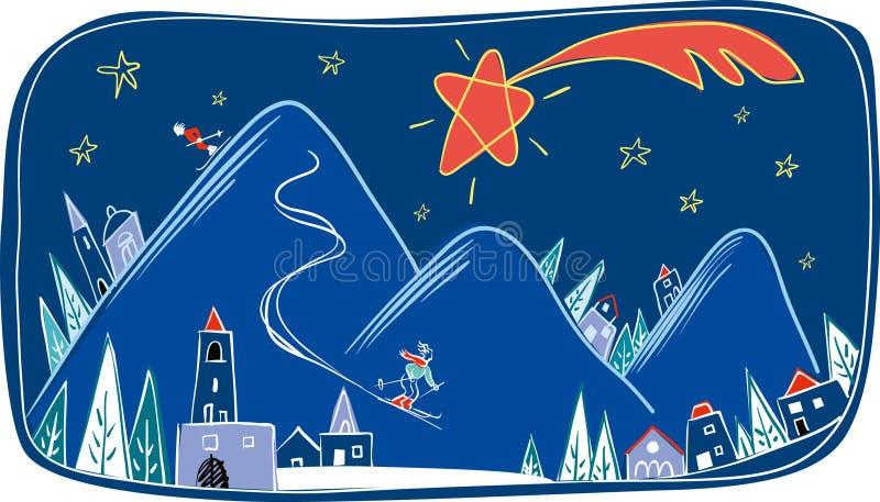 Paesaggio di inverno di notte nello spirito di Natale royalty illustrazione gratis
