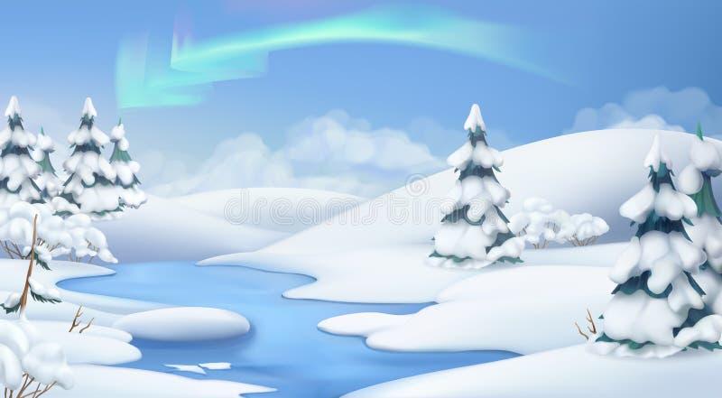 Paesaggio di inverno Priorità bassa di natale Illustrazione di vettore royalty illustrazione gratis