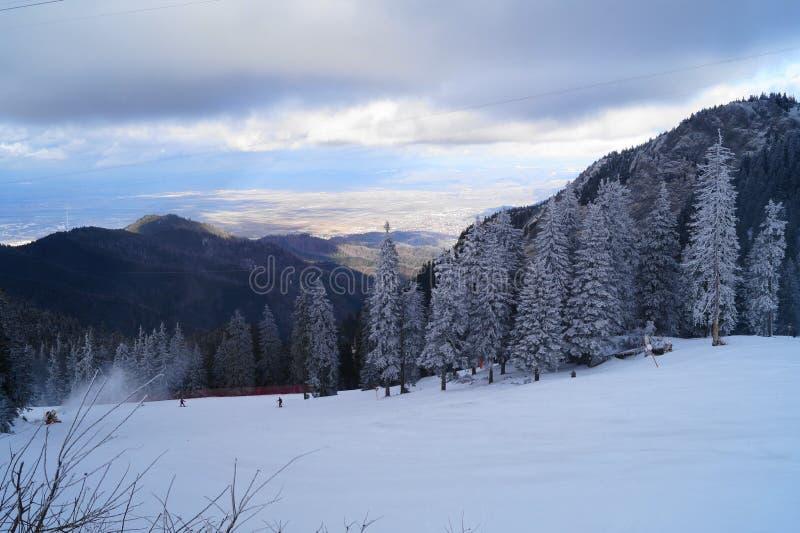 Paesaggio di inverno in Romania fotografia stock libera da diritti