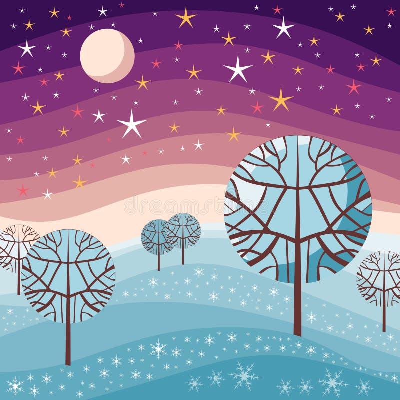 Paesaggio di inverno Scena di notte con neve, gli alberi, il cielo stellato e la luna illustrazione vettoriale