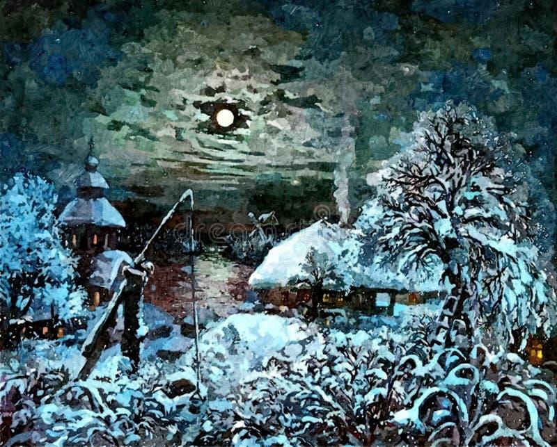 Paesaggio di inverno Tutti i desideri si avverano sulla notte di Natale Di natale vita ancora Acquerello bagnato di verniciatura  illustrazione vettoriale