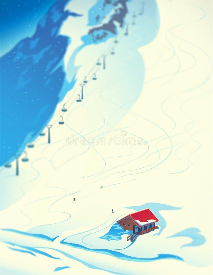 Paesaggio di inverno di una stazione sciistica illustrazione vettoriale