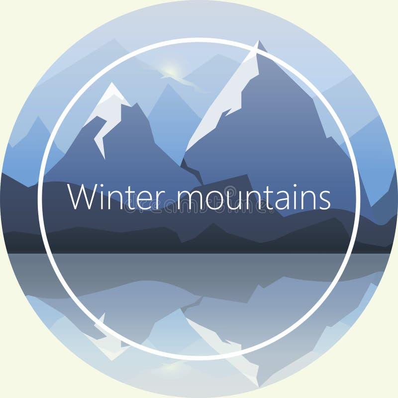 Paesaggio di inverno di vettore con il lago fotografia stock
