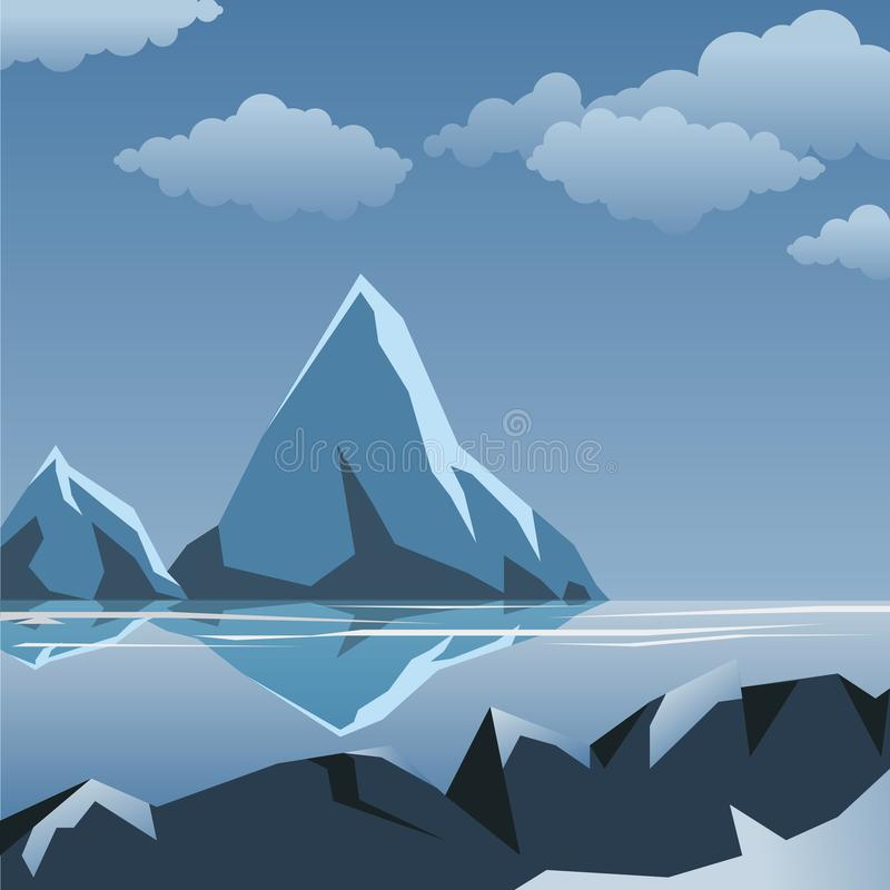 Paesaggio di inverno di vettore sotto le nuvole immagine stock