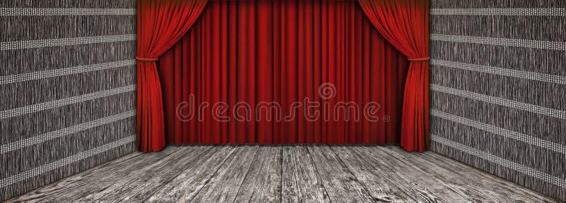 Paesaggio di legno rustico di alta risoluzione del teatro con la tenda rossa abbassata e la fase anteriore vuota fotografie stock libere da diritti
