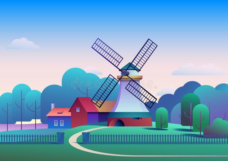 Paesaggio di mattina della campagna con il mulino e l'azienda agricola sul prato, alberi e foresta su fondo - illustrazione piana illustrazione vettoriale