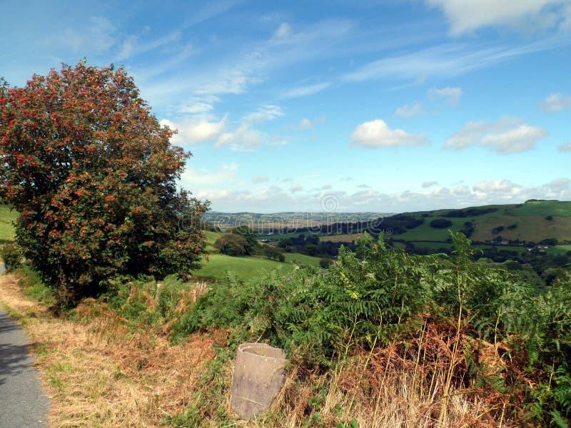 Paesaggio di Mountain View del bordo della strada di Lingua gallese fotografia stock libera da diritti