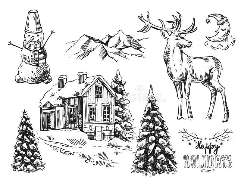 Paesaggio di natale dell'illustrazione illustrazione di stock