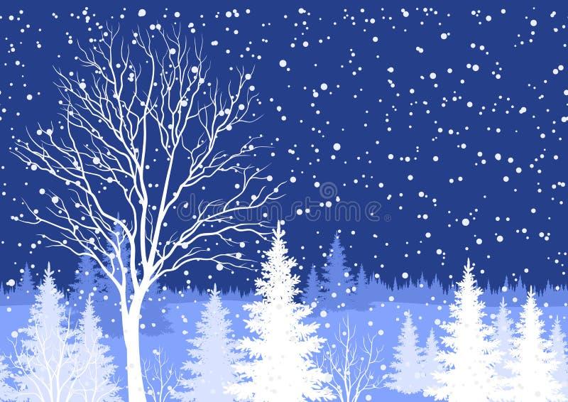 Paesaggio di Natale di inverno con l'albero illustrazione di stock