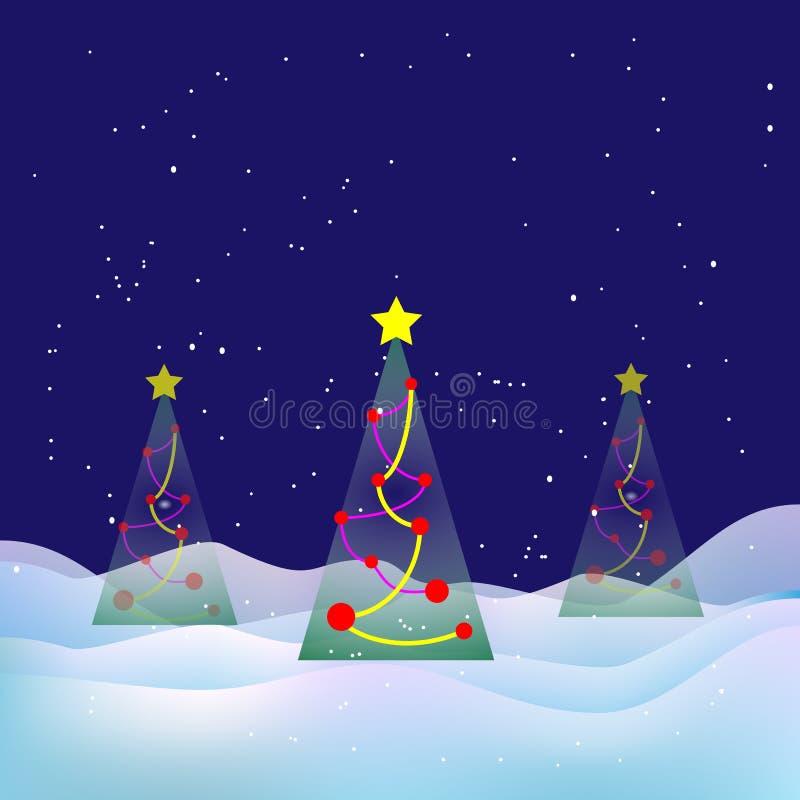 Paesaggio di natale di inverno Notte di Snowy, albero di natale illustrazione vettoriale