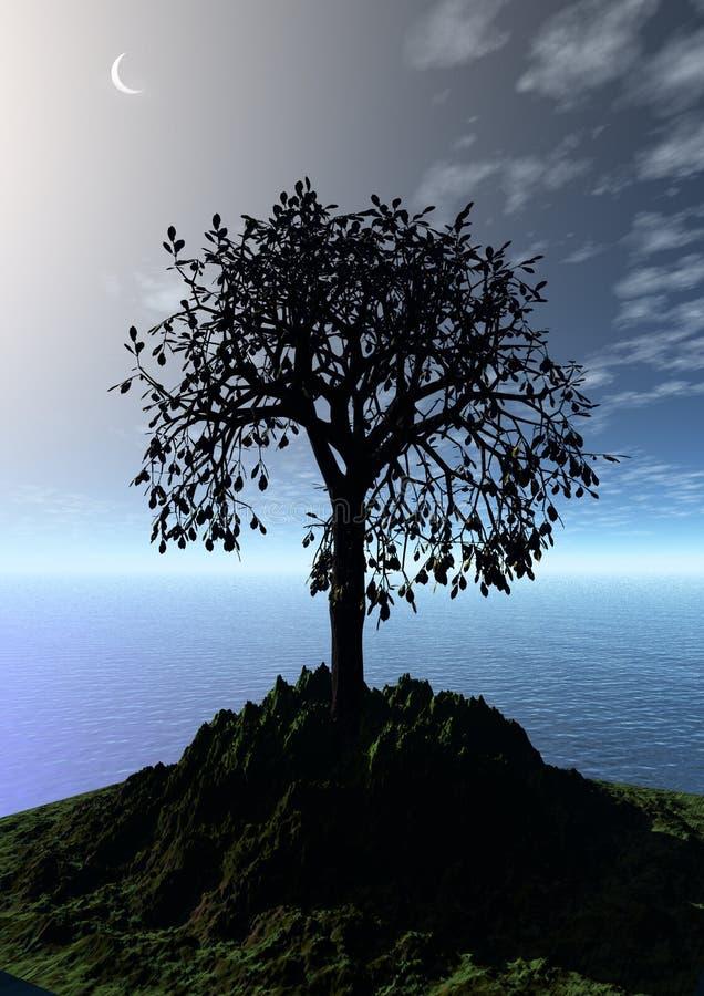 Paesaggio di notte con l'albero solo illustrazione di stock