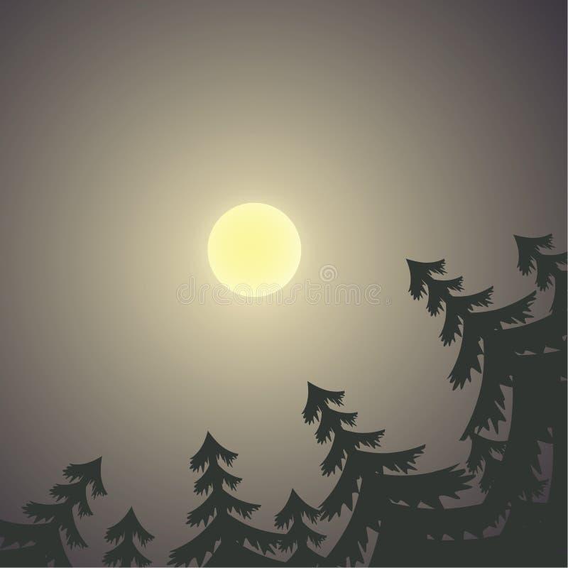Paesaggio di notte con la luna ed i pini royalty illustrazione gratis