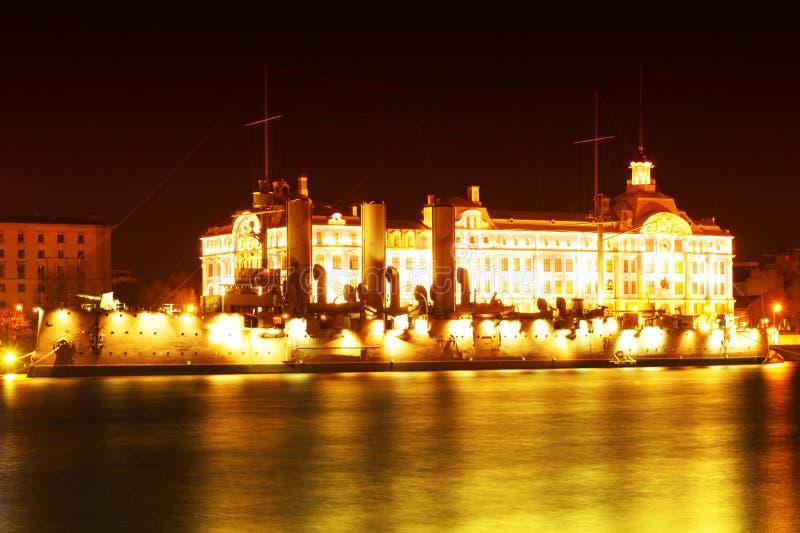 Paesaggio di notte con la nave fotografia stock libera da diritti